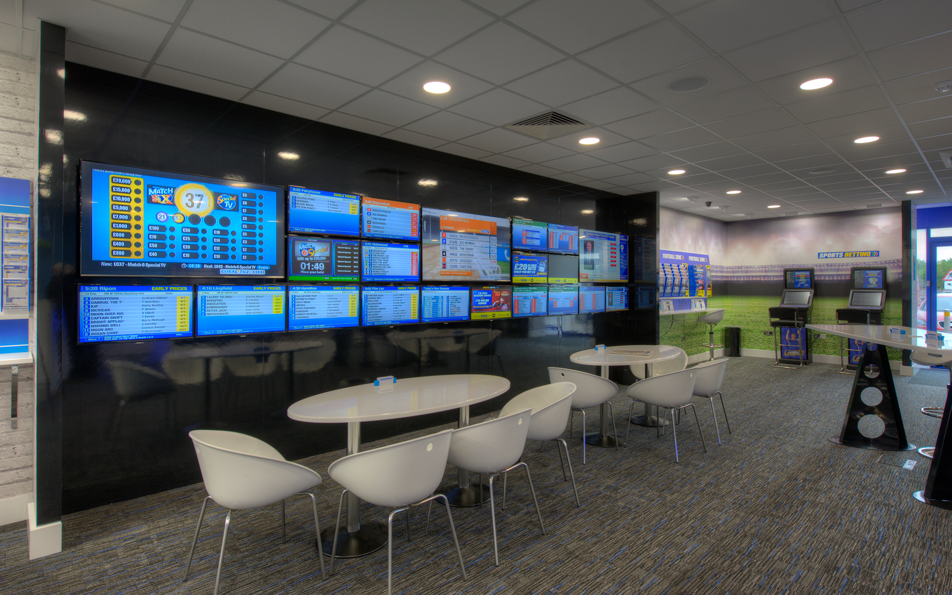 Screens on the wall at Coral Bookmakers